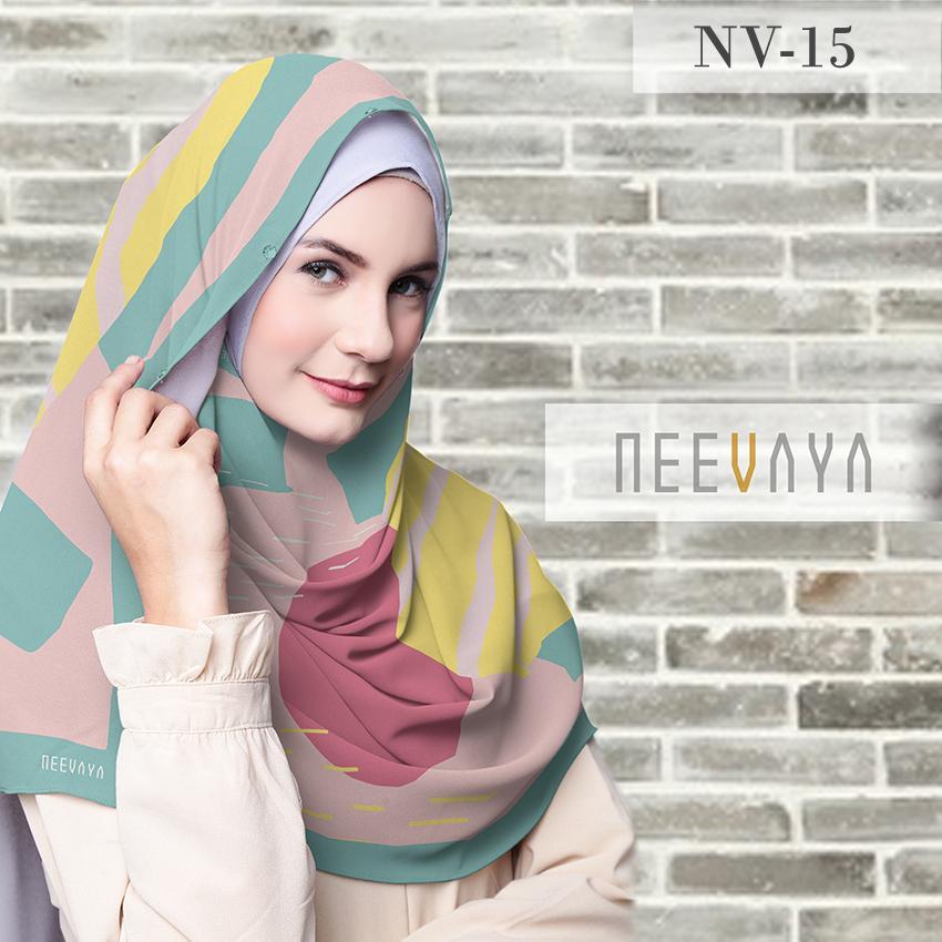 Hijab Jilbab Scarf Segi Empat Printed Voal Divine Premium Neevaya NV-15