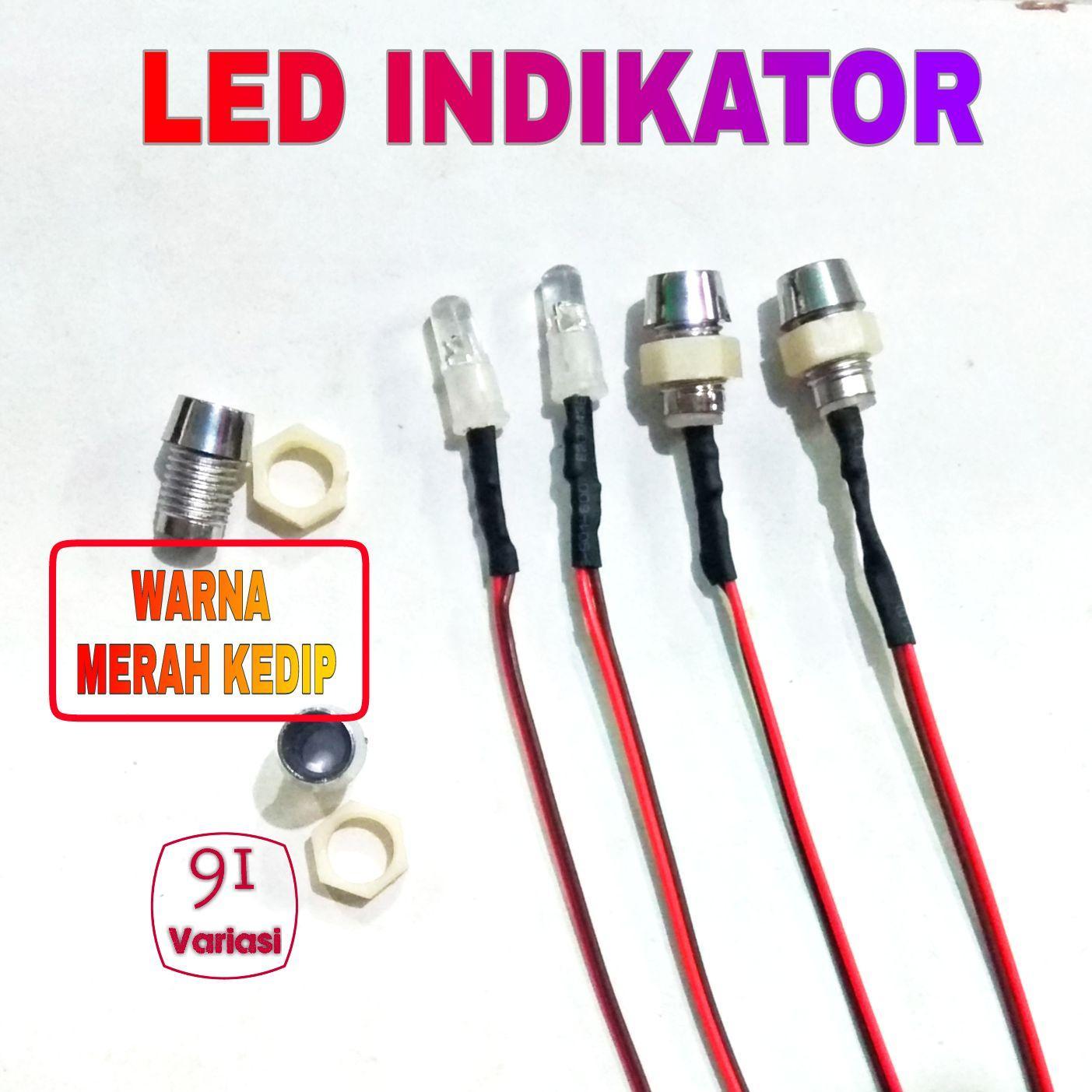 Lampu Led Indikator MERAH Kedip Plus Holder fake alarm Motor