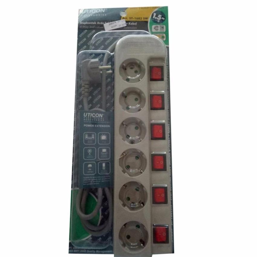 Uticon Stop Kontak 6 Lubang + 6 Saklar + Kabel 1.5M - ST1682SW