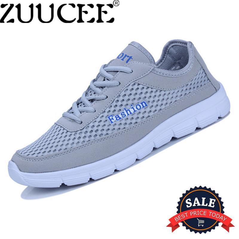 Zuucee Pria Ukuran Besar Sepatu Kasual Bernapas Olahraga Tali Sepatu Rendah-Memotong Bersih Kain (Abu-abu) -Internasional