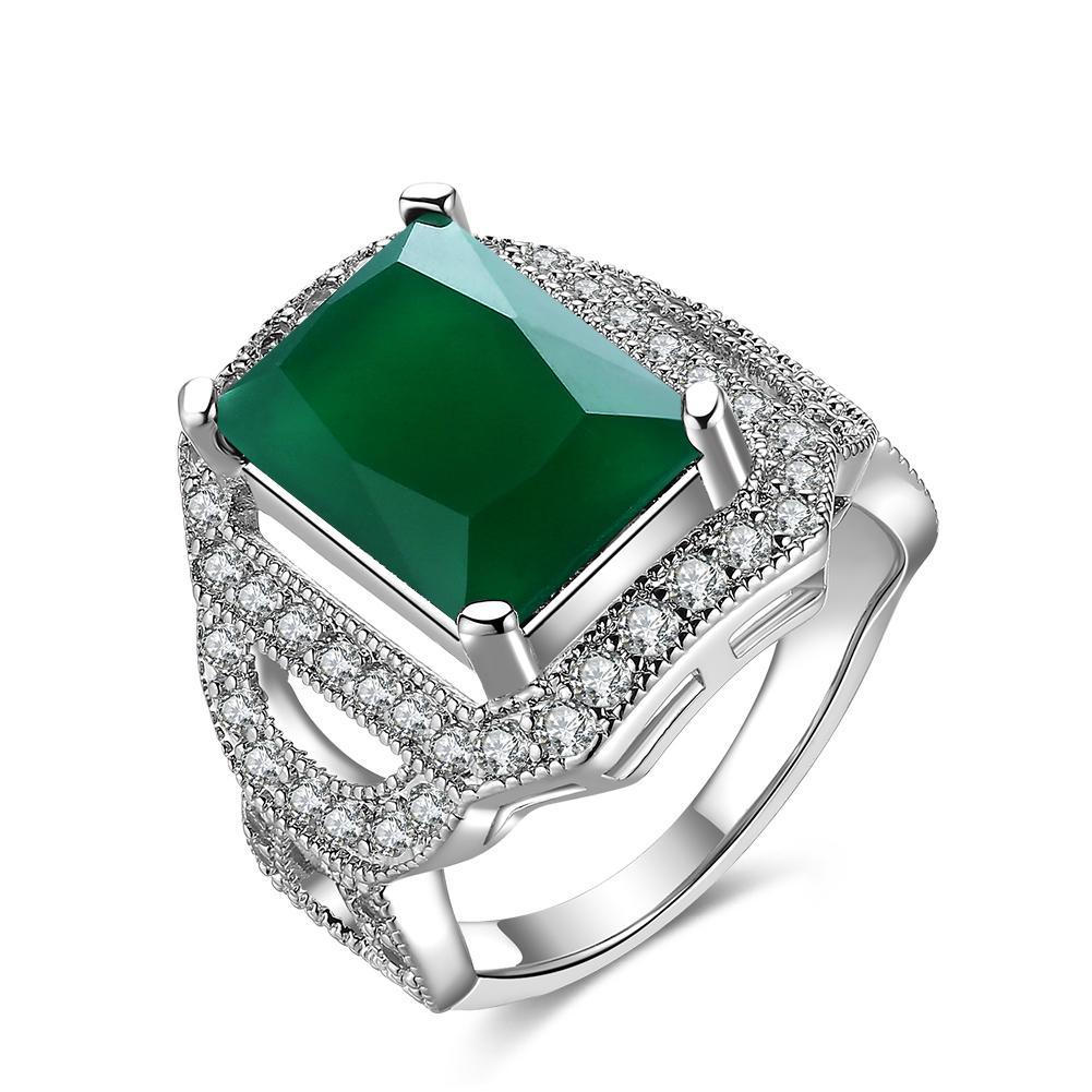 Emas emas zirkon persegi berlubang dengan zamrud cincin berlian hijau perhiasan emas putih grosir KZCR426