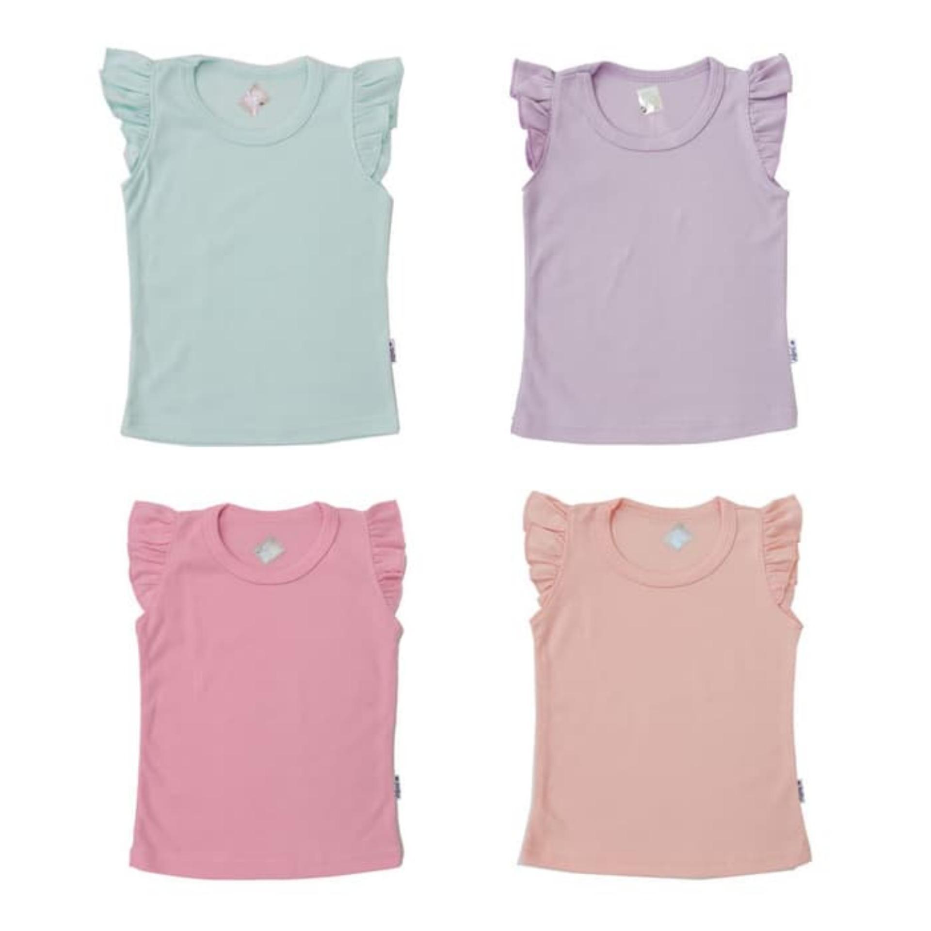 Kazel Tee Shirt Untuk Perempuan - Ruffle Tee Pastel - Isi 4 Pcs - Babyklik By Babyklik.