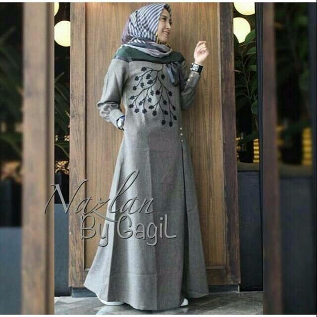 Gamis Nazlan Dress Balotelly Aplikasi Bordir Baju Wanita Panjang Muslim Casual Wanita Pakaian Hijab Modern Baju Gaun Pesta Modis Trendy Terbaru 2018