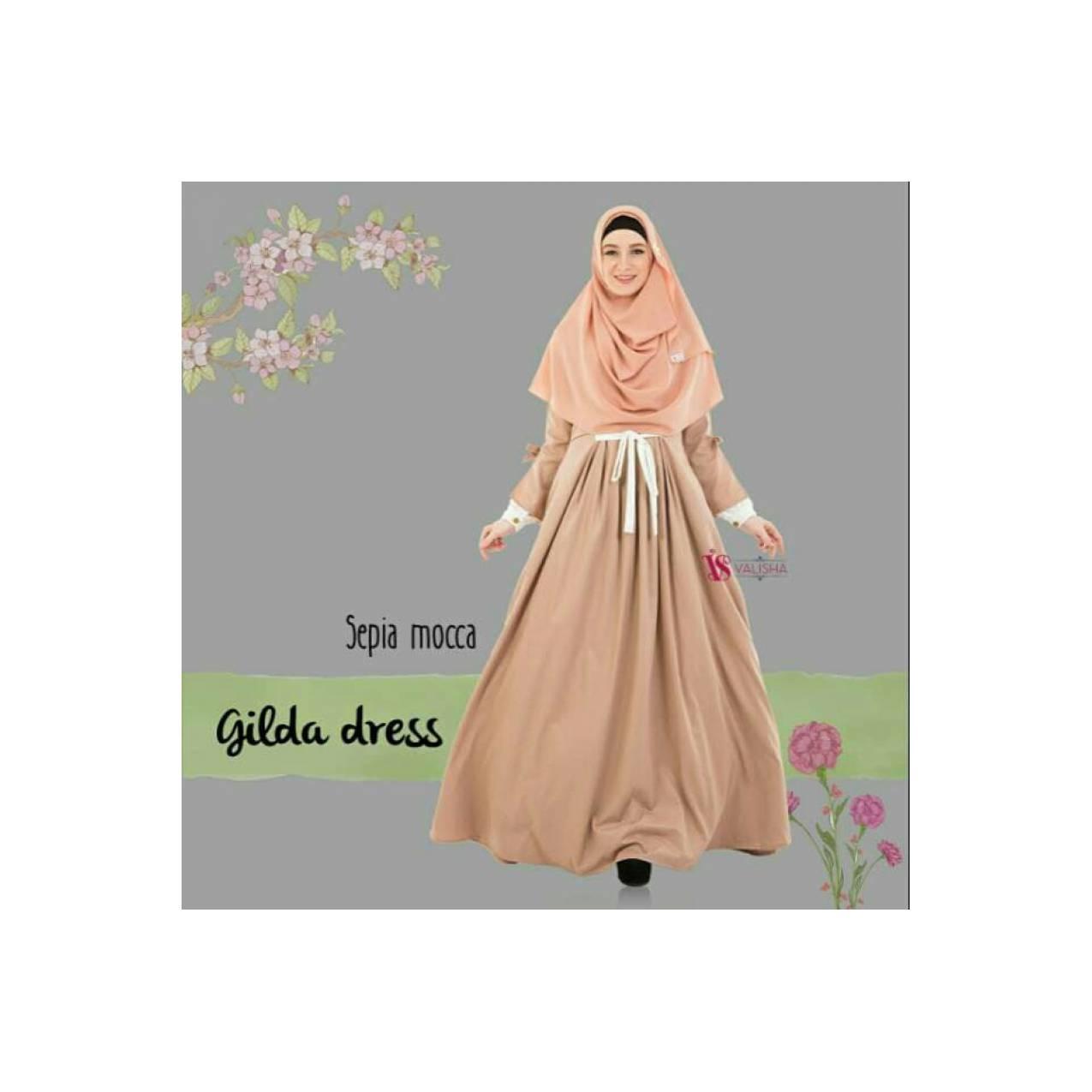 Gilda Tosca 82718 Gamis Only Dress Sepia Mocca By Valisha