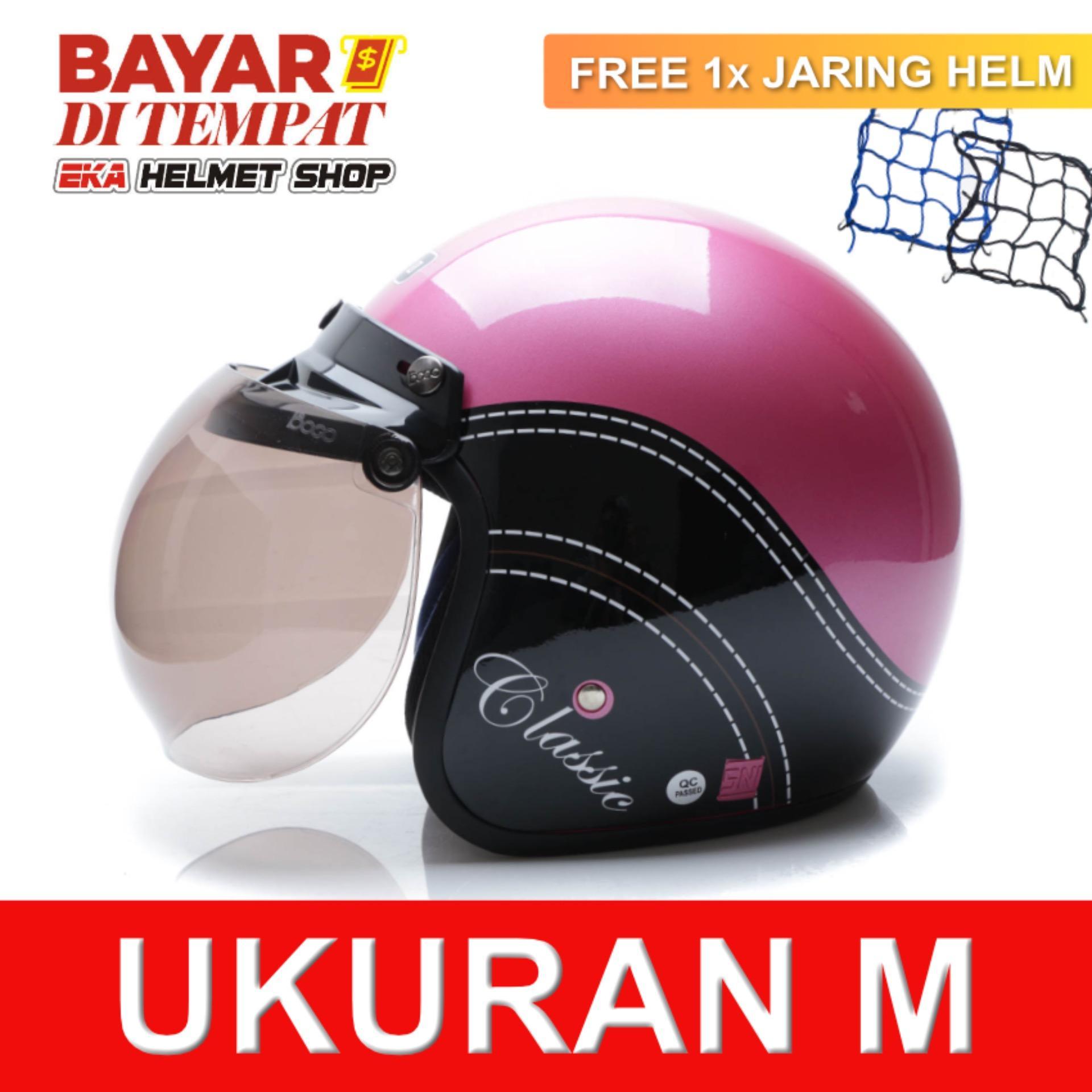WTO Helmet Retro Bogo - Classic - Pink Hitam + Promo Gratis Jaring Helm