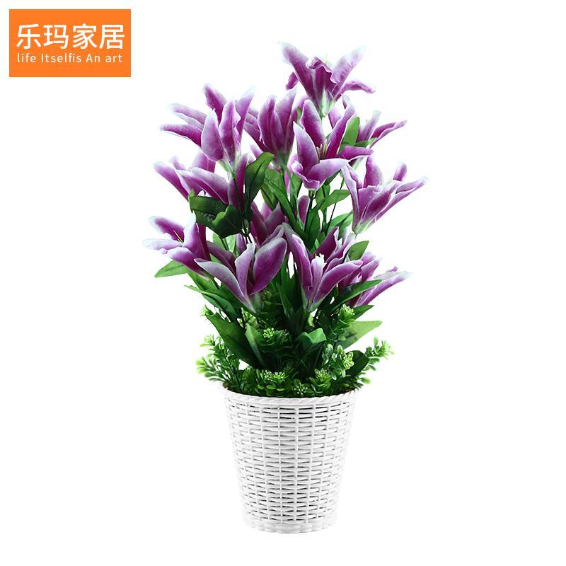 Lily bunga simulasi rumput palsu tanaman pot Ornamen Plastik Sisipan bunga  ruang tamu Meja makan Asian 07ed29cd69