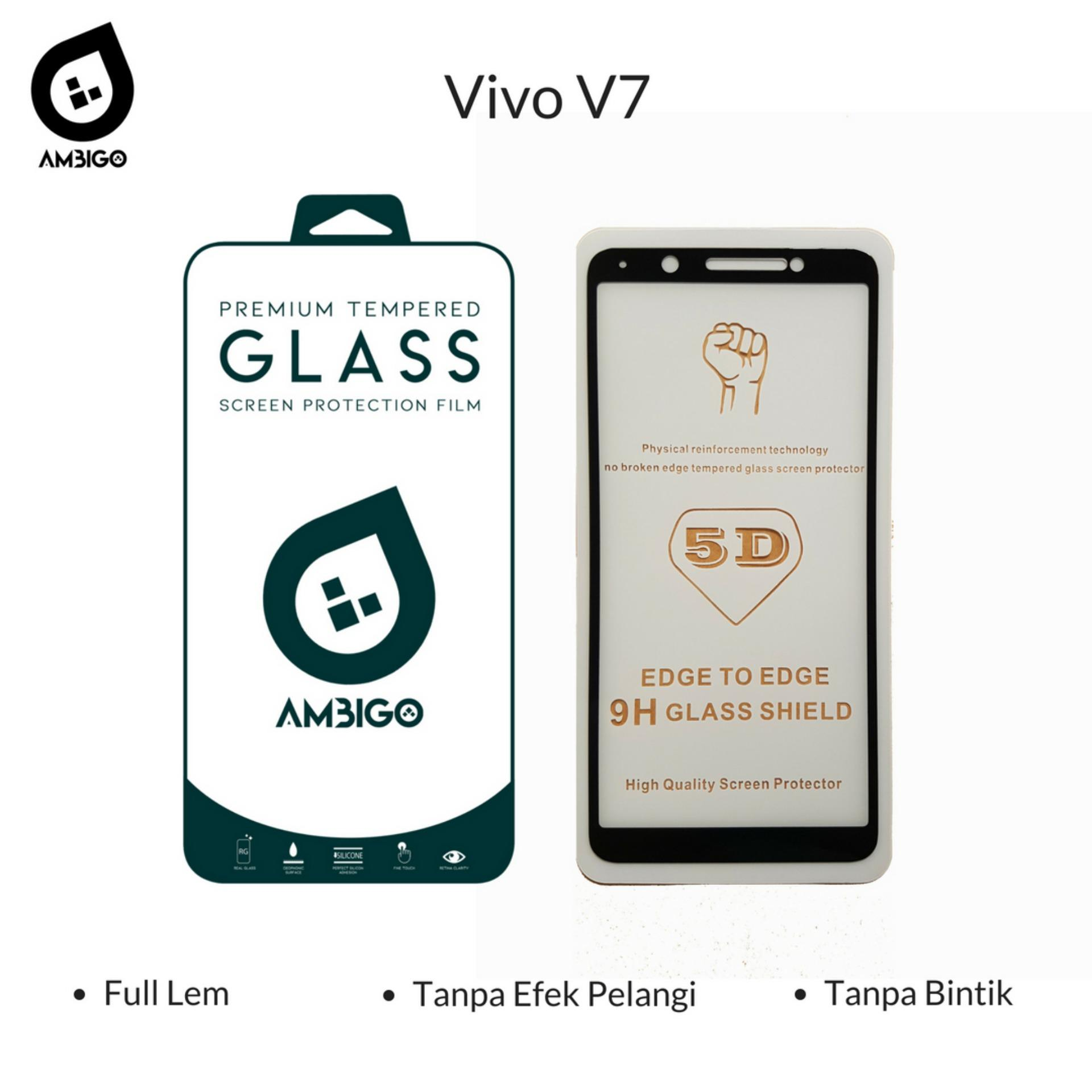 Accessories Hp Ambigo Tempered Glass 5D Full Cover Warna / Anti Gores Kaca Full Lem Untuk Vivo V7 - Black