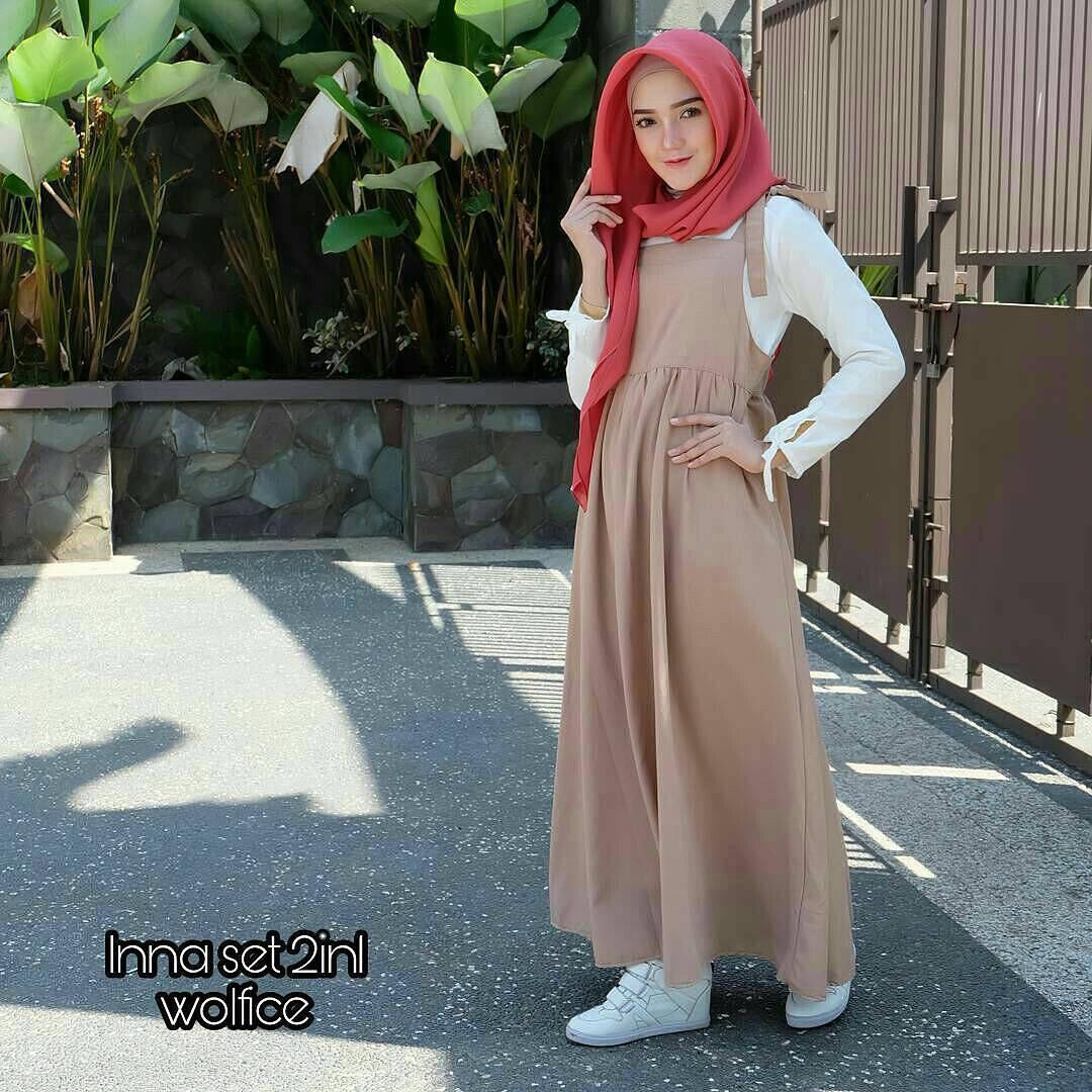 New Baju Original Inna Set Balotely Setelan Atasan + Celana Rok Overall Fashion Wanita Pakaian Muslim Cewek Hijab