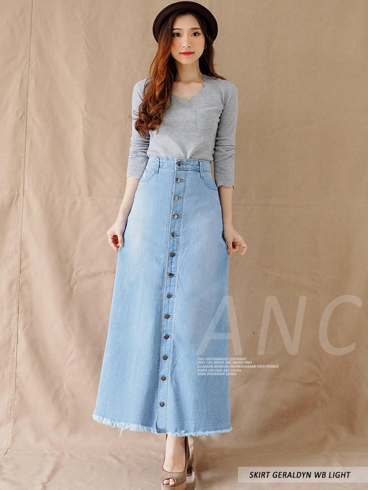 4600ec483acd63 (TERKINI) Rok Panjang Jeans Wanita - Skirt Long Gamis Button Geraldyn WB  LIGHT SMALL