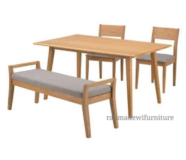 Promo    Meja kursi makan minimalis kayu jati modern retro scandinavian    Original