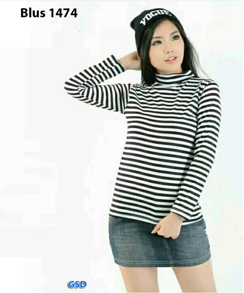 blus salur 1474/baju atasan stripe wanita/blouse salur lengan panjang/blus salur