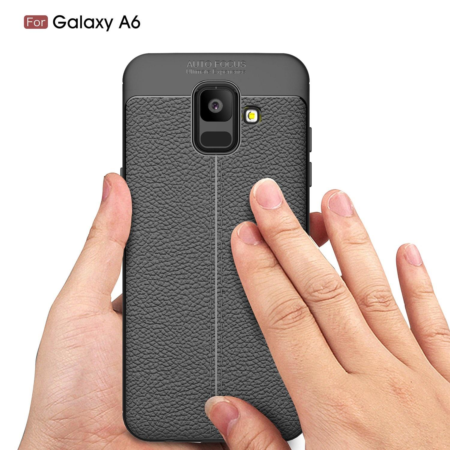 Softcase Auto Focus TPU Case SAMSUNG A6 2018 New Design Case Leather Look - Black