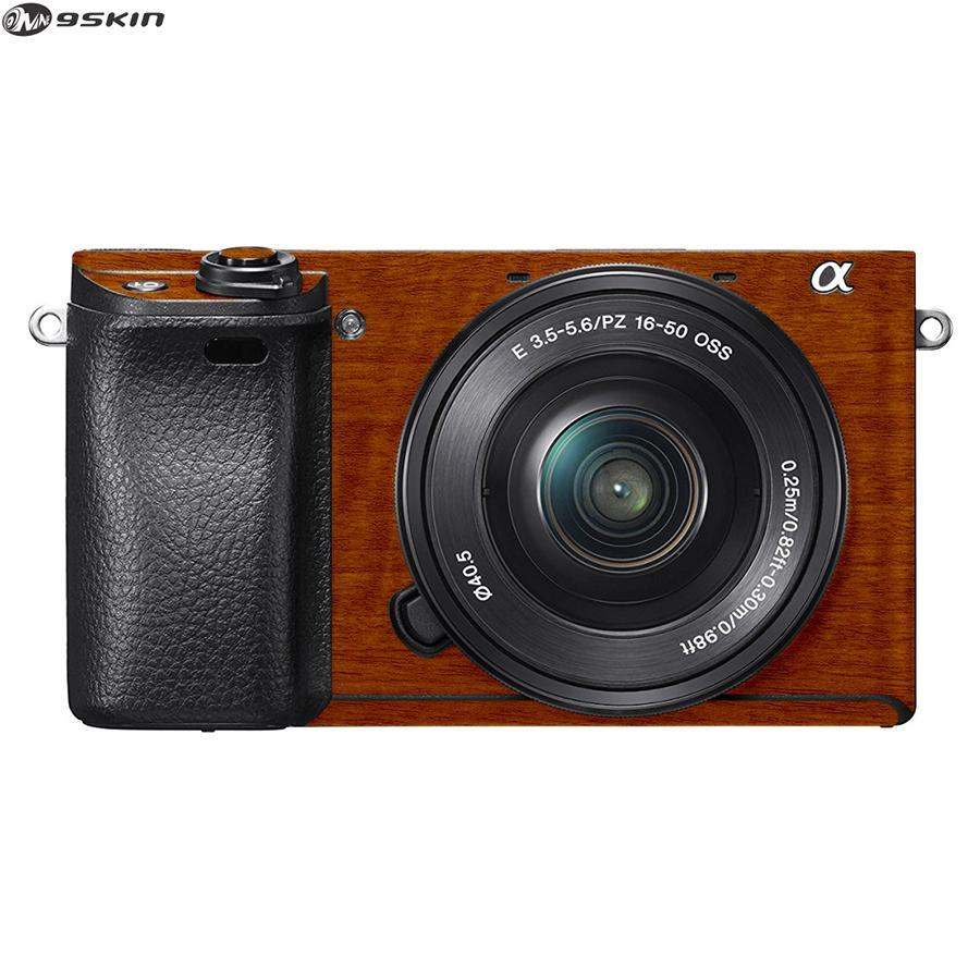 9Skin - Premium Skin Protector untuk Kamera Mirrorless Sony A6300 - Tekstur Metallic Wood - Coklat