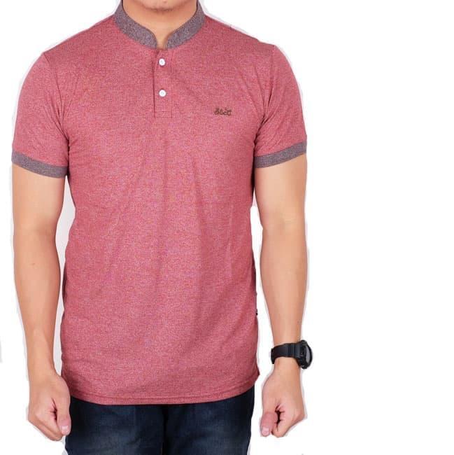 Menzu - Polo Shirt Pria Lengan Pendek Kerah Shanghai Pink List Ungu / Baju Cowok / Kaos Distro