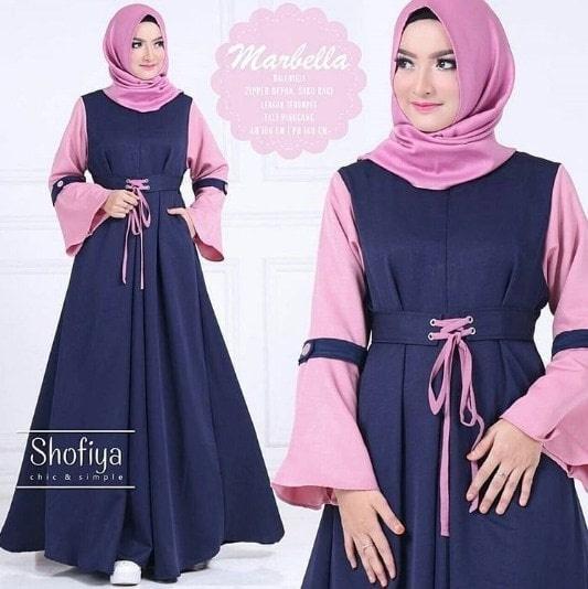 Gamis Syar'i Marbella Dress / Grosir Baju Muslim Wanita Baloteli Busui - Biru Muda