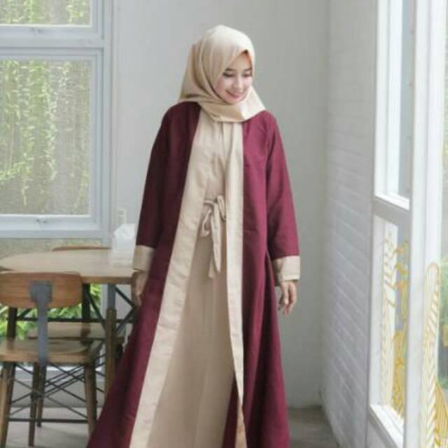 (TERBARU) gamis syari abaya (bata silper)