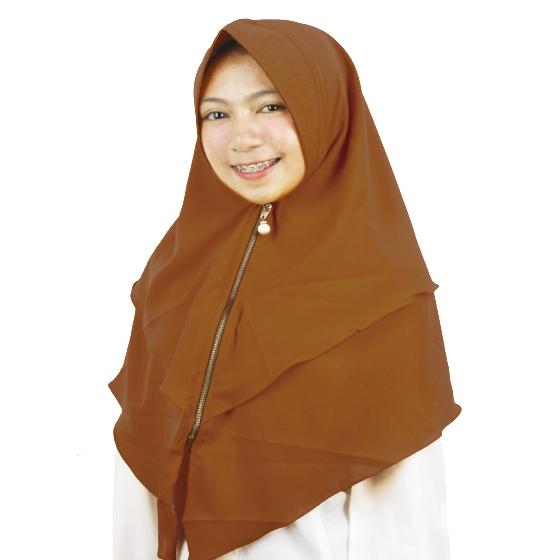 PROMO Merina Hijab Instan Bergo Zipper - [Coklat Susu]