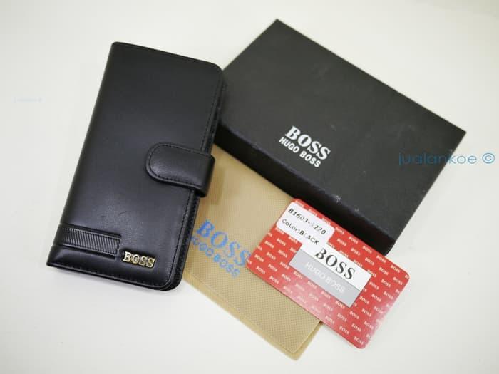 Diskon 10%!! Dompet Kartu Kulit Import Hugo Boss B1603-9270 Black - ready stock