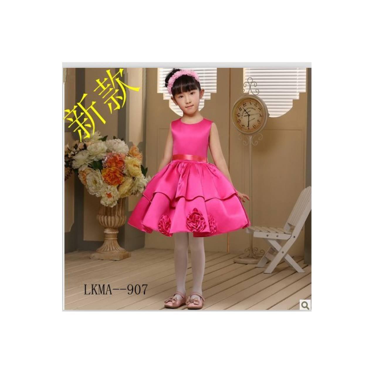 Gaun pesta anak model simple mini dress warna rosy pink /baju princess