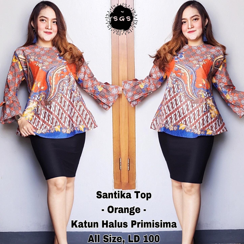 Atasan Blouse Batik Wanita - Blus Batik Cap - Blus Kerja Lengan Panjang - Blouse Batik Premium Santika Top