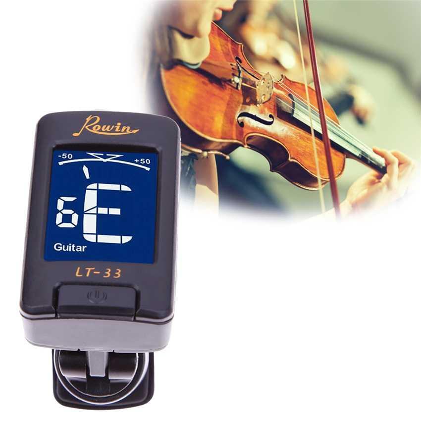 Rowin Tuner Guitar Clip-On LT-33 LCD Penyetam Gitar Bass Violin Ukulele 360 Degree Klip LCD Screen Display Akustik Acoustik Pengaturan Nada Akurat Profesional Stem Alat Musik Music Instrument Accessories s9632 - Black