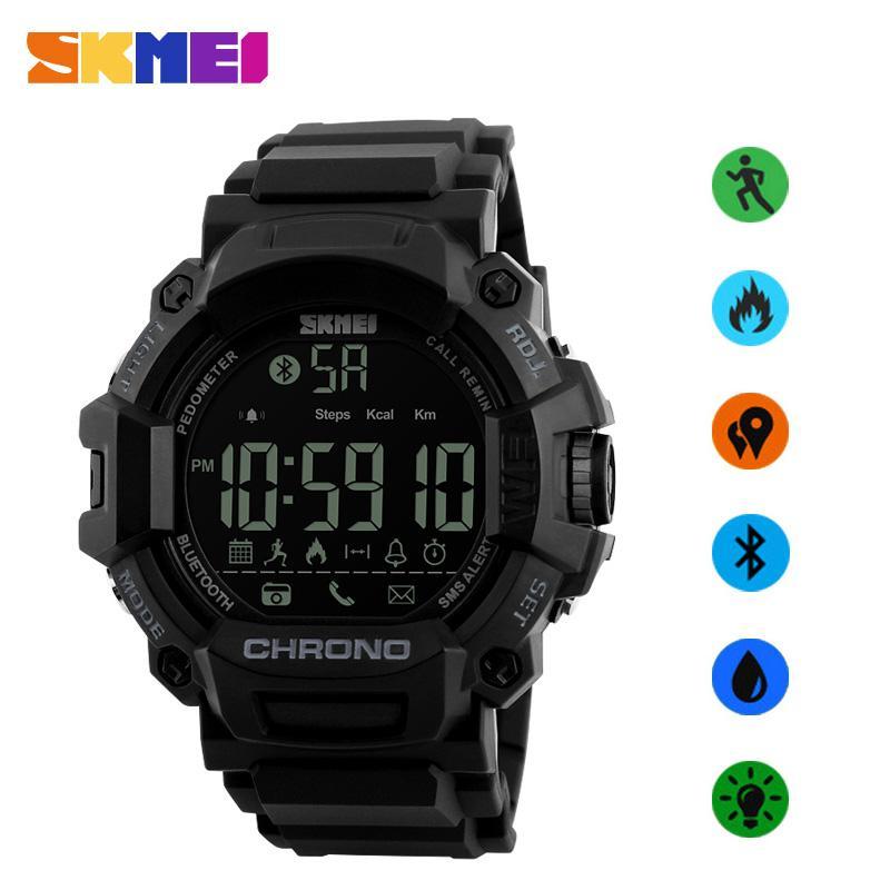 SKMEI Laki-laki  Smart Watches Pedometer Waterproof Digital jam tangan pria Remote kamera panggilan