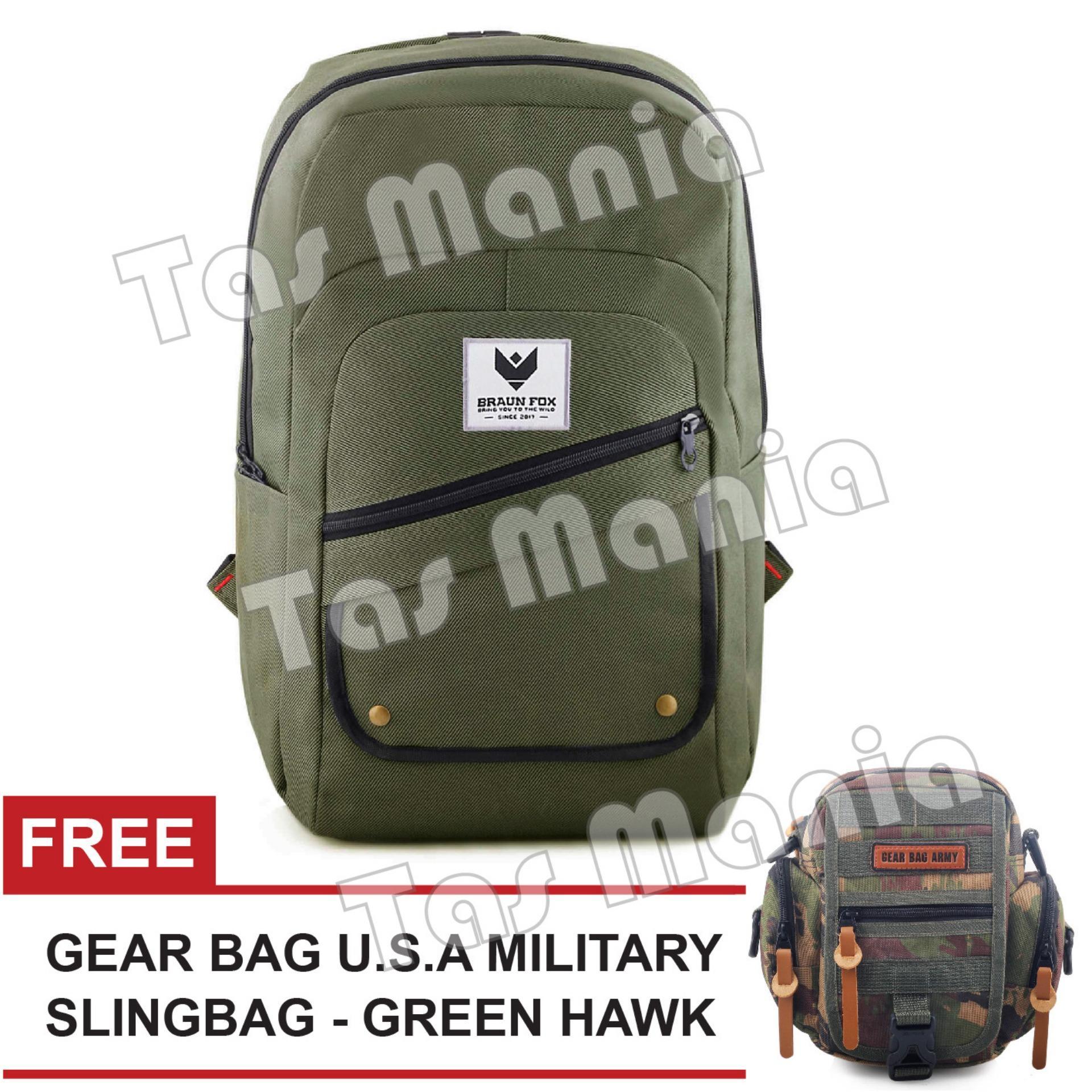 Tas Ransel Pria Braun Fox Jester X Casual Dailypack Laptop Backpack - Green + FREE Tas Selempang Gear Bag U.S.A Military - Green Hawk Promo Diskon Murah Tas Kerja Kantor Kuliah Anti Air Termurah Terlaris Best Seller