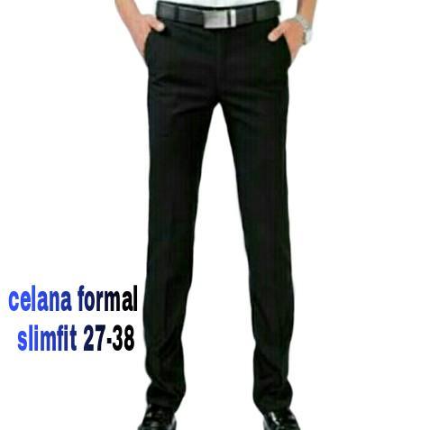 Mr. Legend celana formal hitam slimfit/ celana kantor slimfit/ celana kerja hitam slimfit
