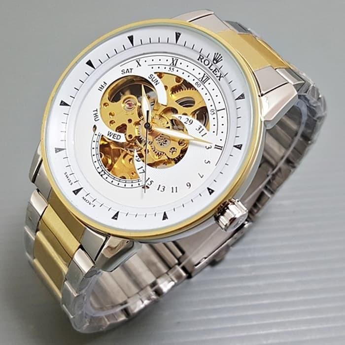 Jam tangan pria / Jam tangan pria original / Jam tangan pria murah / Jam tangan pria terbaru / Jam tangan pria swiss army / Jam tangan pria terbaik / Jam Tangan Pria / Cowok Rolex Skeleton Alfa Rantai Kombi plat White DISKON MURAH!!!