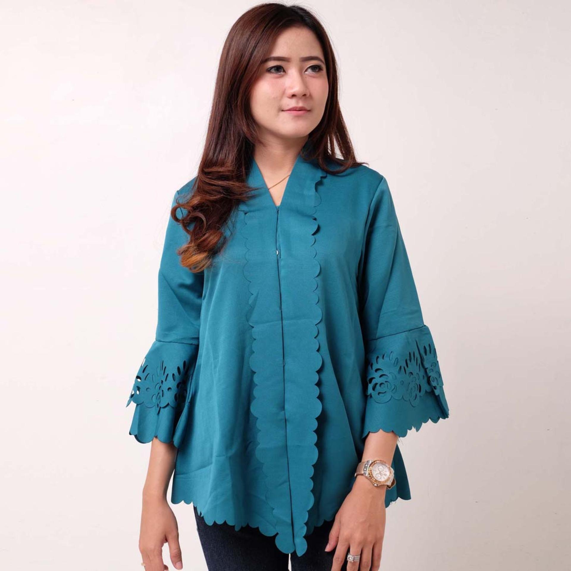 Batik Distro BA9089 Kebaya Wanita Encim Polos - Biru