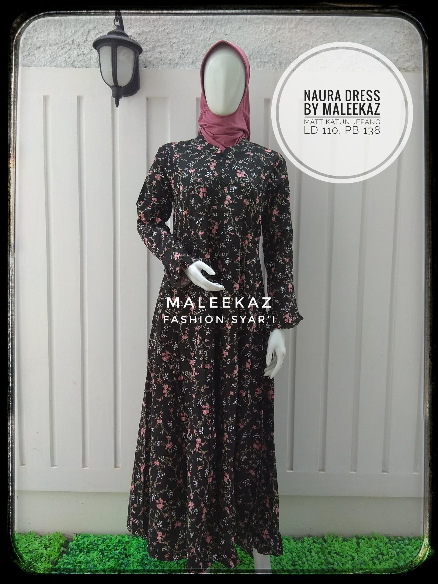 MaleekaZ Fashion Syar'i / Baju Gamis Muslim Syari / Dress Muslimah / Hijab Muslim / Gamis Syari / Baju Muslim / Fashion Muslim / Fashion Maxi / Setelan Muslim / Hijab Wanita  - Naura Dress - Hitam
