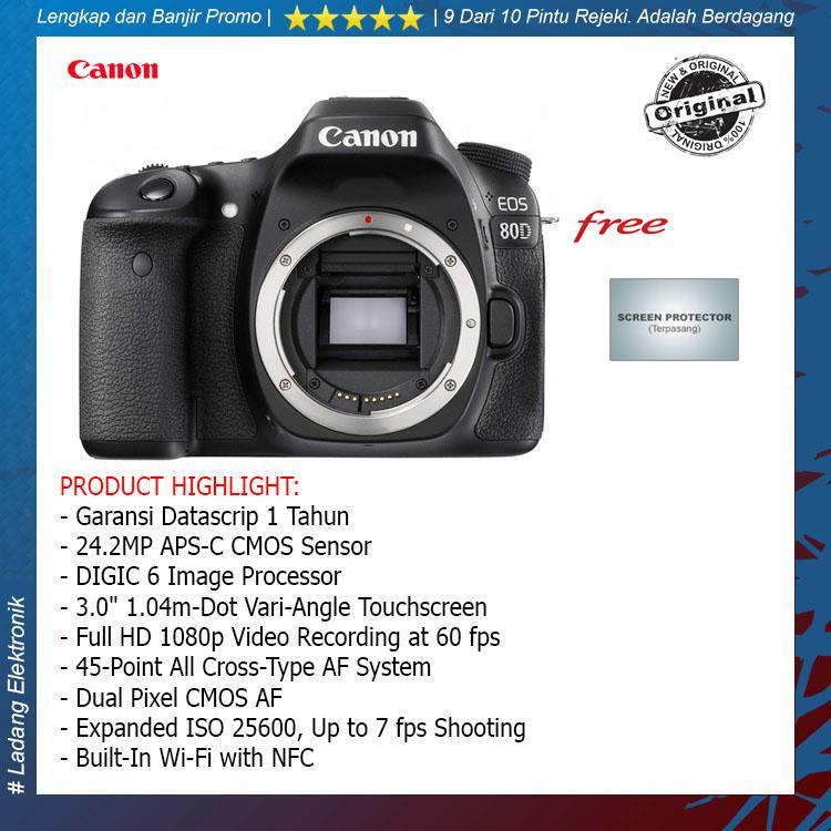 Canon Eos 80d Bo Wifi Black (free Screenguard Terpasang) / Garansi Resmi Datascrip - Hitam By Ladang Elektronik.
