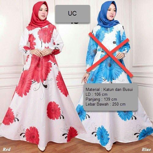 UC Baju Maxi Dress Lengan Panjang / Gamis Syari Busui Motif Bunga  / Baju Fashion Muslim Wanita Syar'i / Gaun Pesta Muslimah  / Long Dress / Hijab Muslimah / Gamis Modern / Atasan Muslimah Lebaran 2018 XXA (E18) - Merah biru Pink Kuning