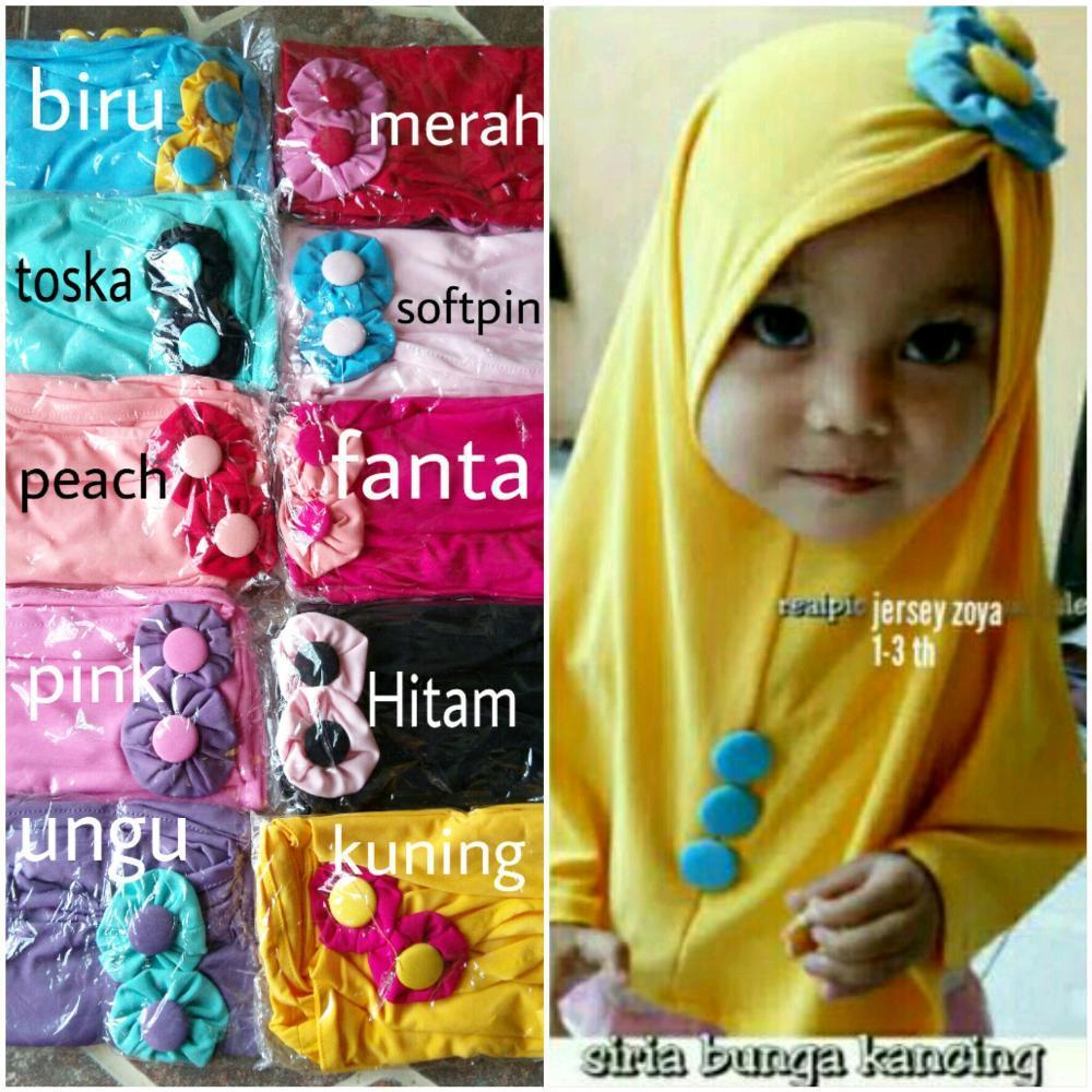 jibab anak bunga kancing- hijab anak 1-3 th - kerudung anak- khimar anak di lapak AF ONLINE 19yuniarti