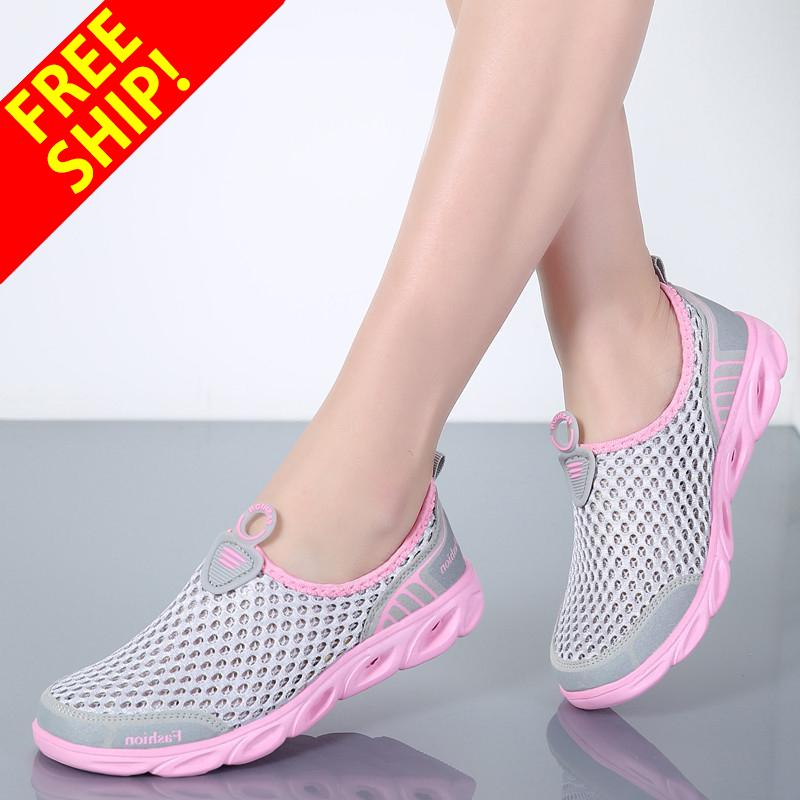 QINGSHUI Super Comfortable Women Summer Casual Shoes Woman Slip-On Platform Flats Breathable Shoes- intl