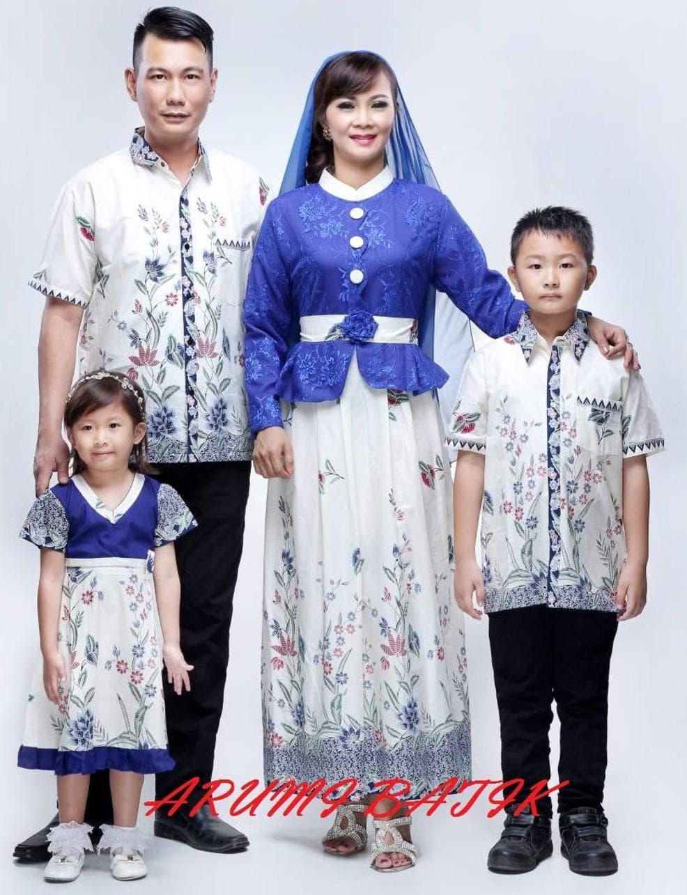 Murah Gamis Baju Muslim Long Maxi Dress Batik 1493 Biru Jumbo