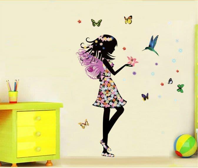STIKER TRANSPARAN 50X70 JM8337 : Flowers Girl - Stiker Dinding / Wall Sticker (50