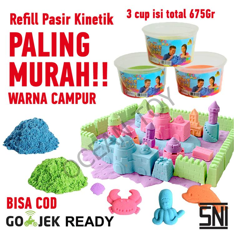 Promo Cuci Gudang Isi Ulang / Refill Pasir Ajaib / Pasir Kinetik / 3 Cup Total 675 Gram/ Paling Murah- Oct9000 By Ocean Toy.