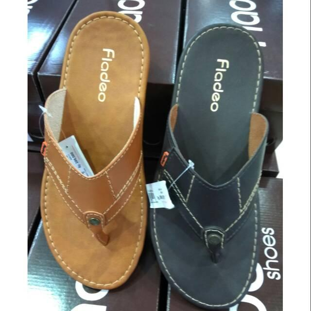 Sandal casual pria fladeo original 100% fullset box new hitam