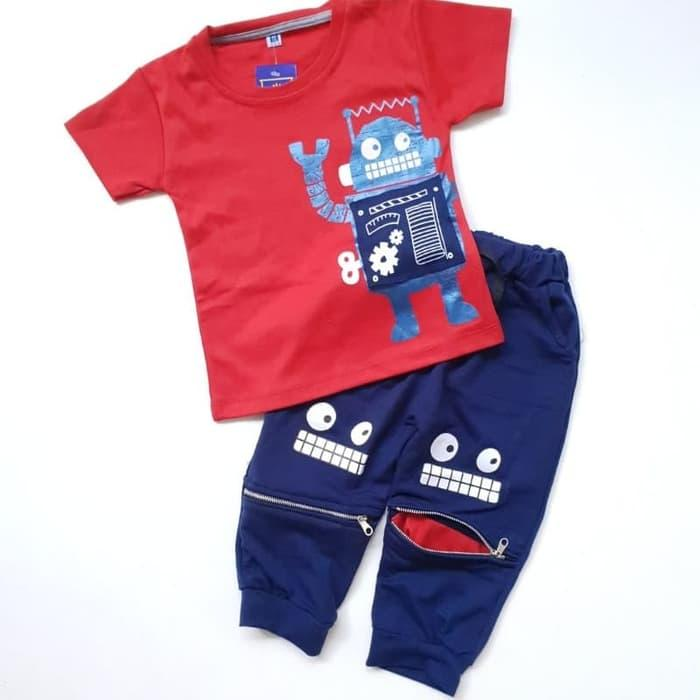 Baju Setelan Anak Bayi Laki Cowok Kaos Robot Celana Joger Restleting