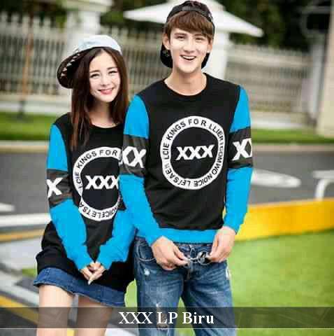 LenganPanjang Kaos Couple Lengan Panjang Keren Baju Pasangan Simple XXX Biru