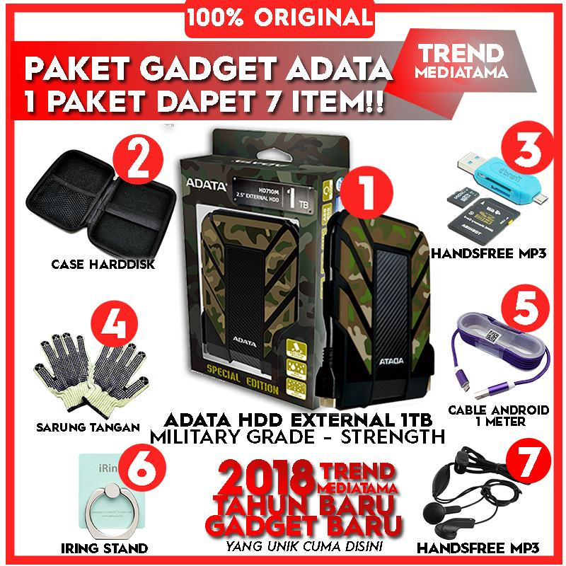 [Promo] Original Harddisk External Adata HD-710M (MILITARY-GRADE STRENGTH) Free Case Harddisk + Sarung Tangan + OTG Card Reader 2in1+ Cable Android 1 meter + Handsfree MP3 + Iring Stand