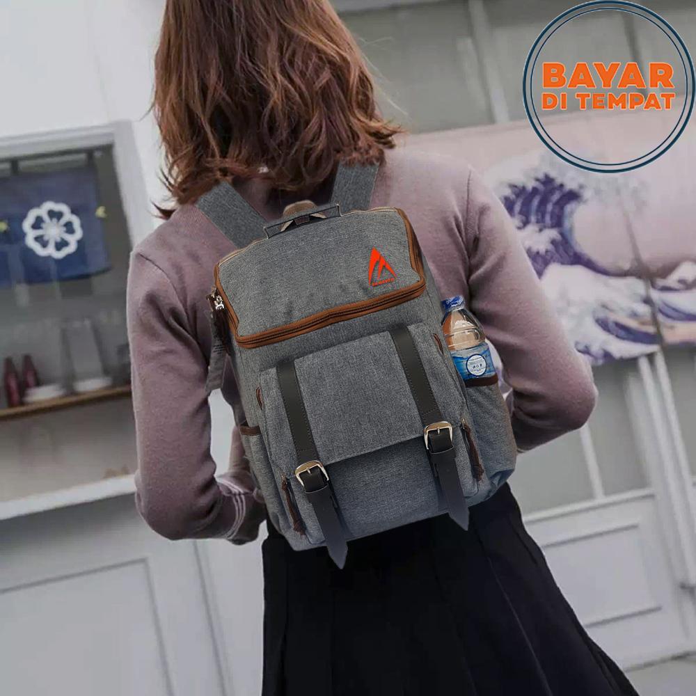 Tas Ransel Pria Tas Wanita Tas Ransel Korea Tas Punggung Tas Laptop Tas Kerja Tas Kuliah 7888 Korean Design - Grey