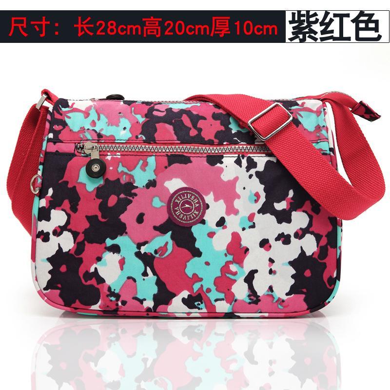 Korea Fashion Style wanita dicetak oxford kain tas wanita nilon kanvas tas ( Ungu) (