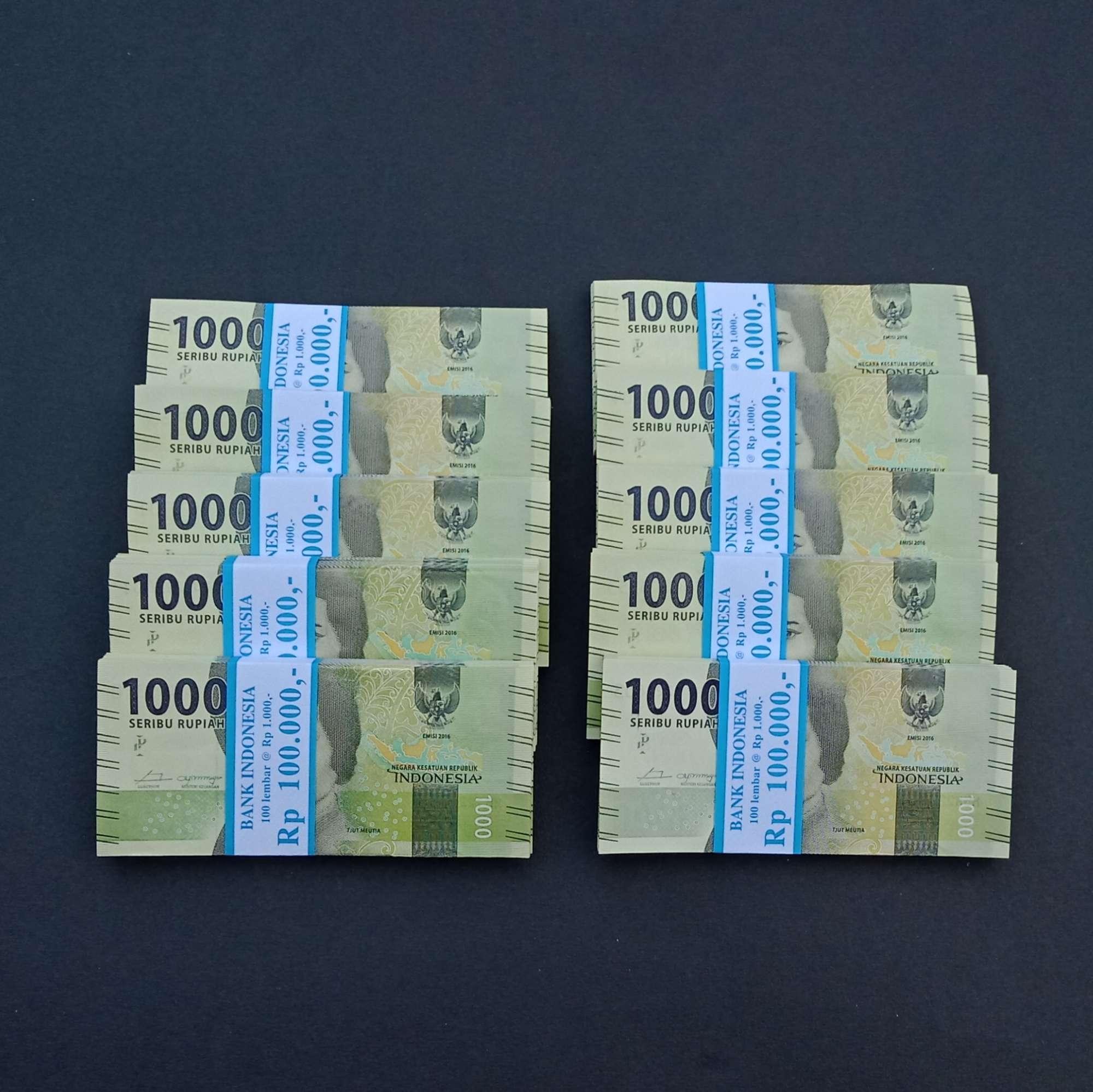 Uang 1000 rupiah cut meutia 1 bendel kondisi bagus