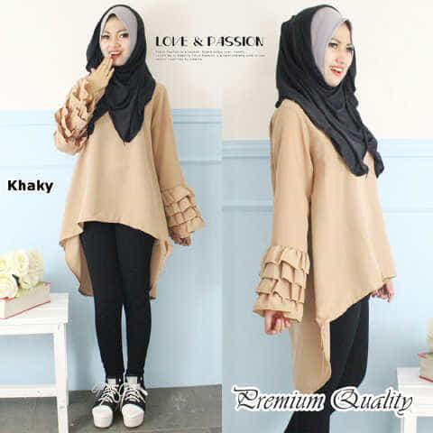 blouse wanita twiscone cream [Rempley hijab FT]