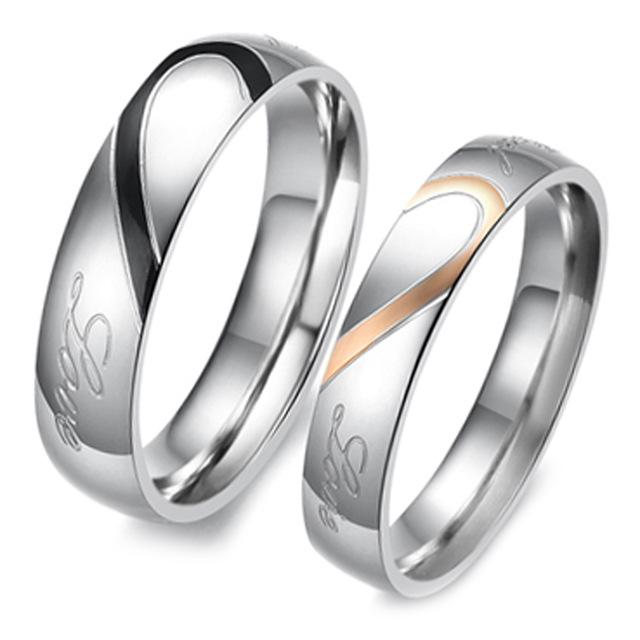 Diskon Promo Perhiasan Aksesoris Cincin TunanganKawin Silver Half Heart Real Love Couple Murah