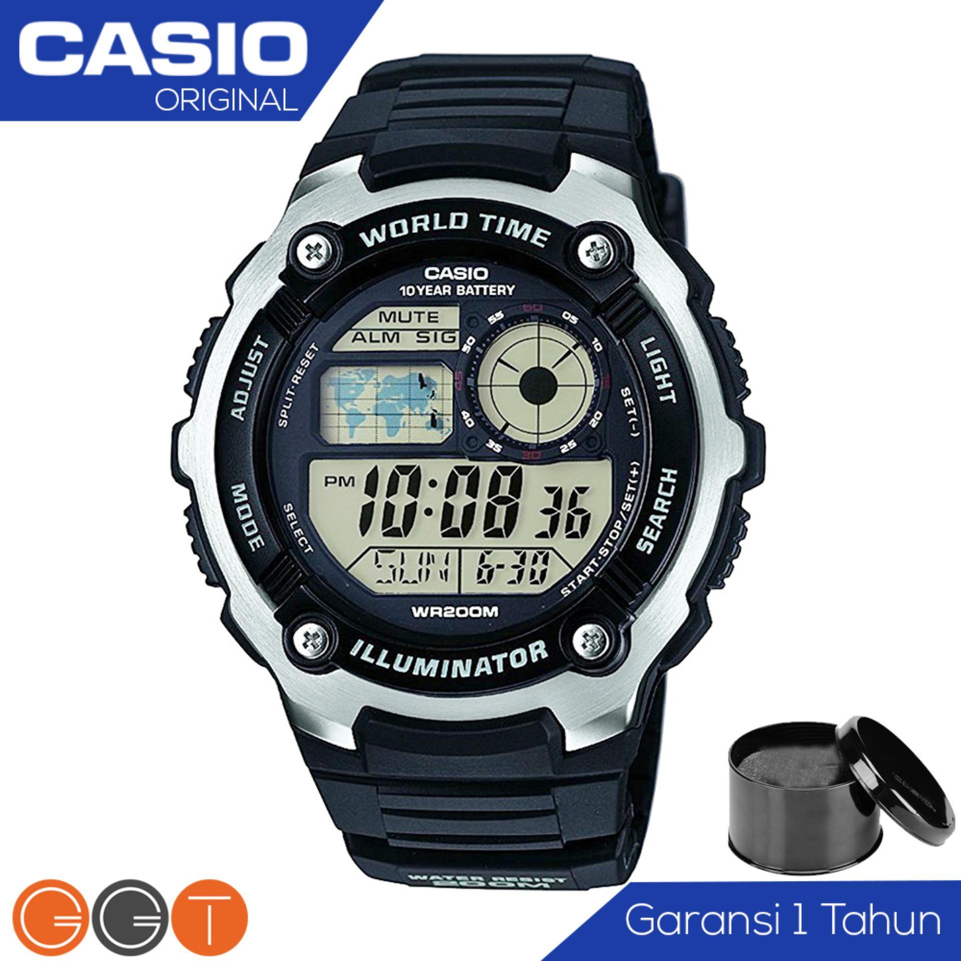 CASIO Illuminator AE-2100W-1AVDF - Jam Tangan Pria - Resin Strap - Digital Movement - Black