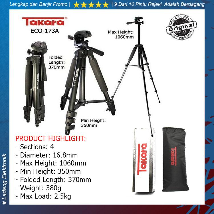 TAKARA ECO-173A Professional Tripod TAKARA 173A Black with Tripod Bag for Mirrorless Pocket Action Camera GoPro Brica Xiaomi Canon Nikon Sony FujiFilm Panasonic - Original