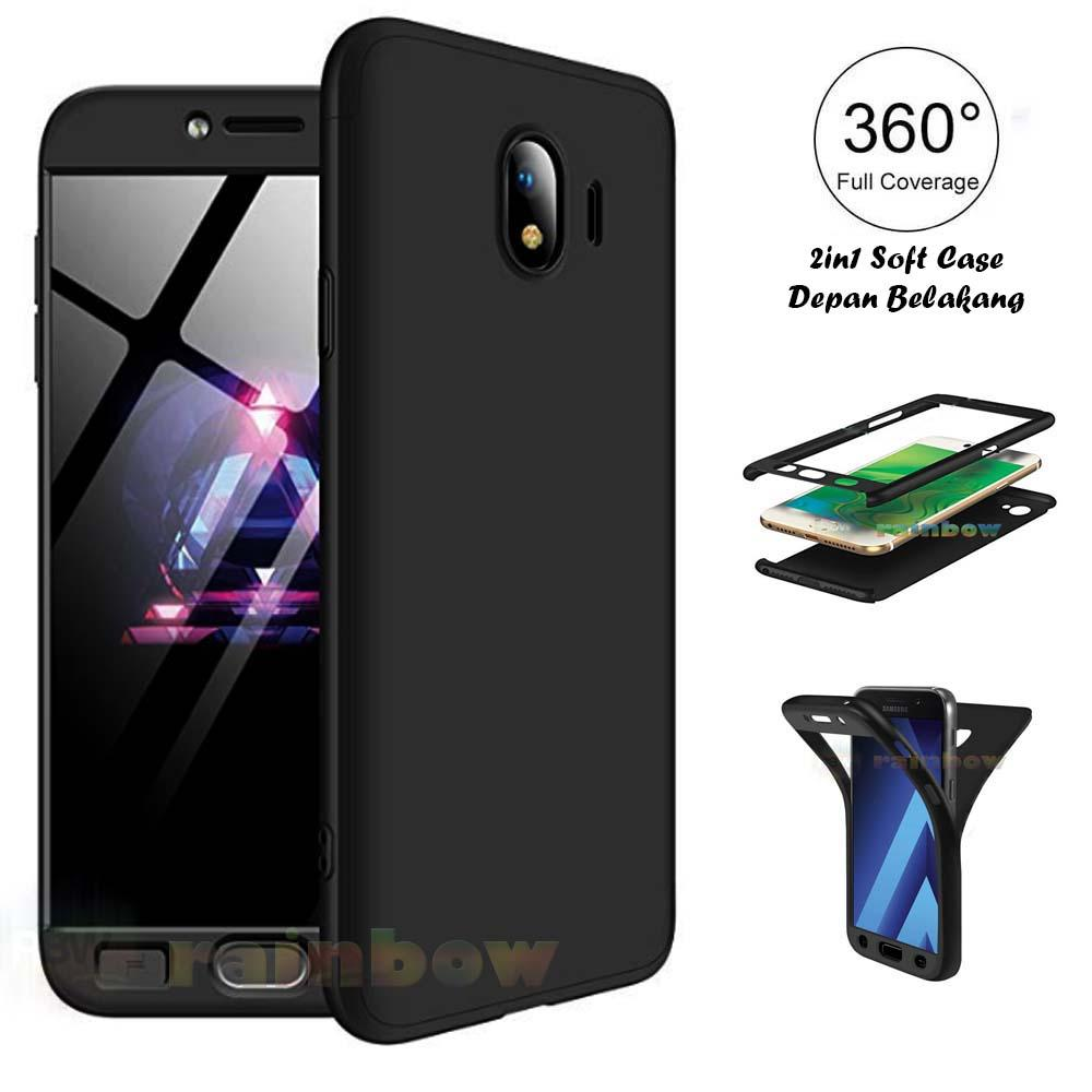 Rainbow Case 360 Samsung Galaxy J4 2018 Black Soft Case 2in1 Depan Belakang Fullbody 2 in 1 Double Case / Silky Case Samsung J4 2018 / Silikon Samsung J4 ...